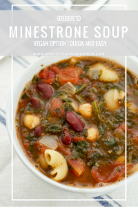 "My mom's version of minestrone soup that uses only pantry or freezer staples! It's full of beans, veggies, and pasta, and makes a great appetizer or meal when you want to ""eat the pantry""! #soup #comfortfood"