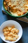 Pumpkin Mac and Cheese with chickpea pasta is an easy way to get fiber and protein into your diet with minimal effort. This recipe is just as creamy and cheesy as regular mac and cheese, but with the benefit of added nutrients from chickpeas and pumpkin. #whitecoatpinkapron #pumpkinmacandcheese #chickpeapastamacandcheese