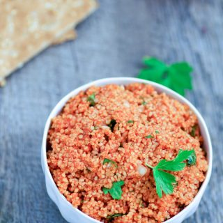 Eetch is a healthy, vegan, Armenian appetizer or side dish. It is sure to replace tabbouleh as your favorite bulgur dish!