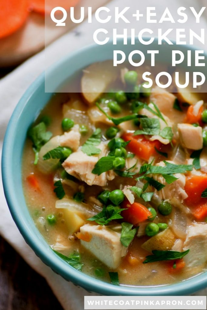 Easy Chicken Pot Pie Soup is a lightened up, stovetop version of the classic chicken pot pie. Full of hearty chicken and veggies, it will only take 30 minutes to get on the table. #chickenpotpie #quickandeasy #weeknightdinner