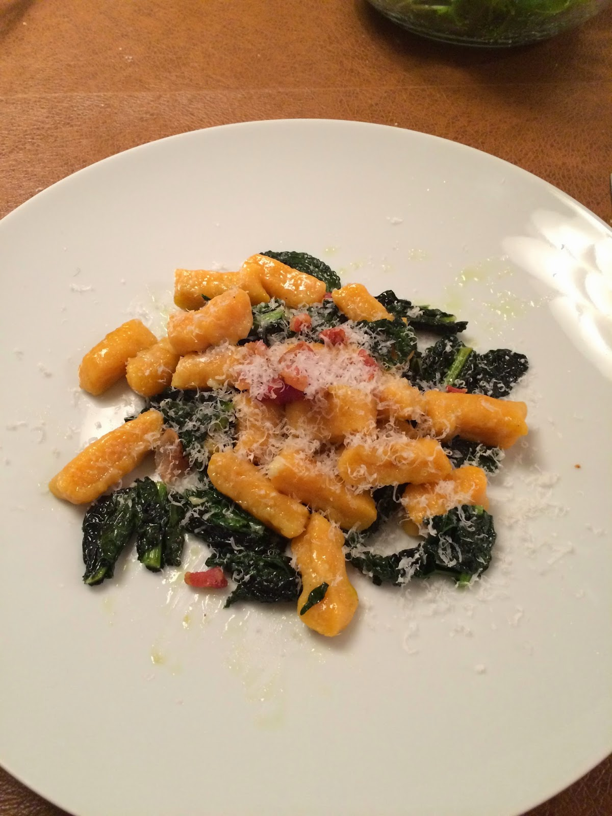 Sweet Potato Gnocchi with Tuscan Kale and Bacon