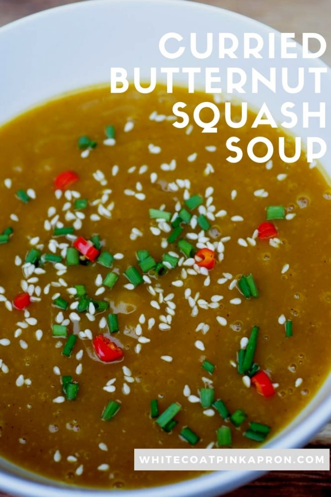 Curried Butternut Squash Soup is warm, spicy, and perfect for fall. #soup #fallfoods #butternutsquash