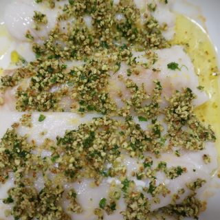 Baked Cod with Almond Gremolata
