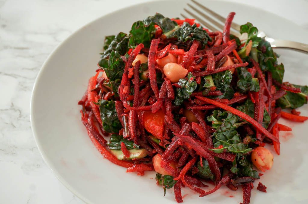 beet carrot salad with ginger dressing, beets, rainbow carrots, carrots, ginger dressing