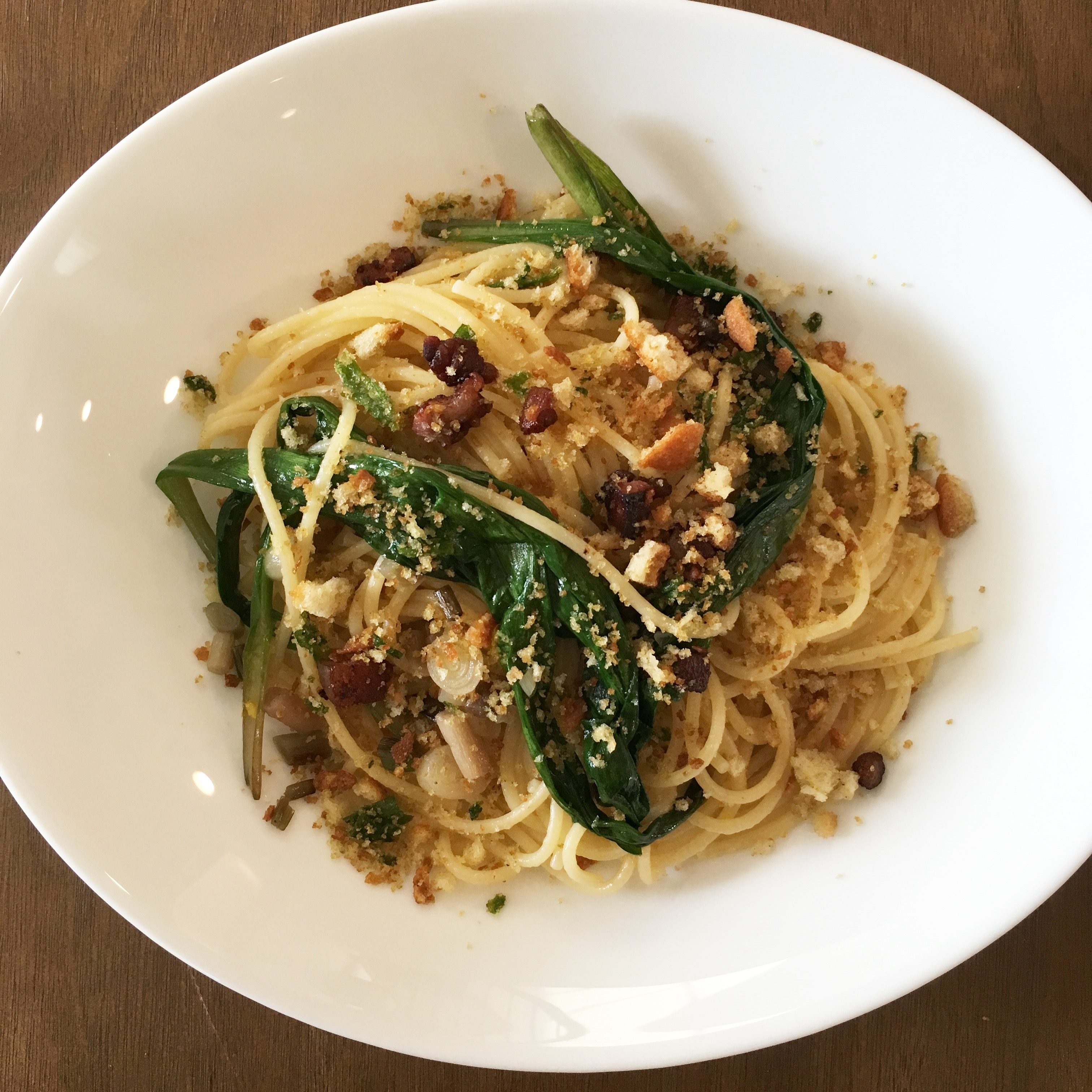 Spaghetti with Ramps, Pancetta, and Meyer Lemon Zest