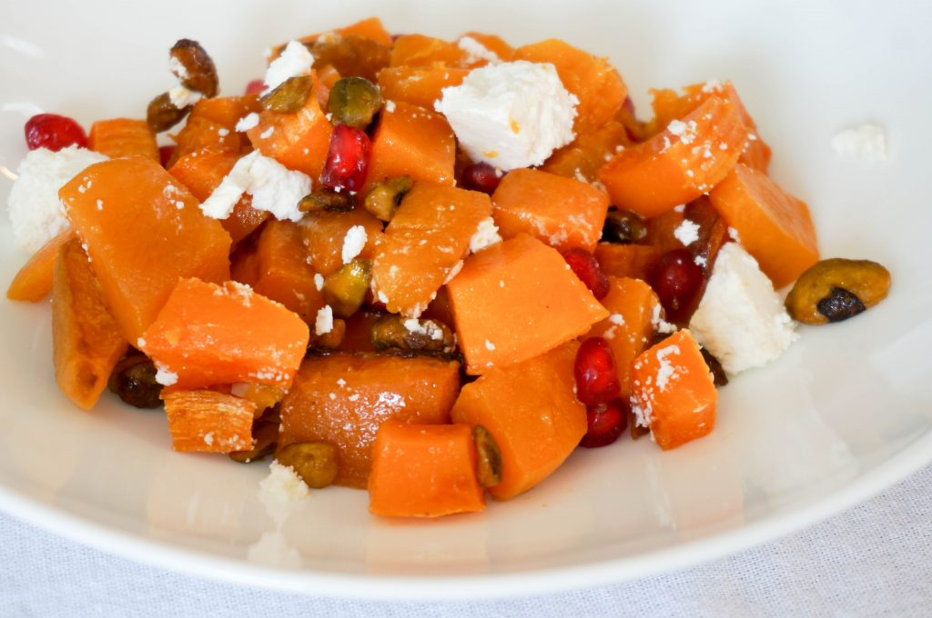 Roasted Butternut Squash With Pomegranate and Pistachio