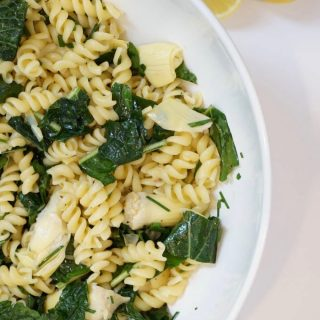 Kale and Artichoke Pasta Salad with Lemon Lavender Dressing