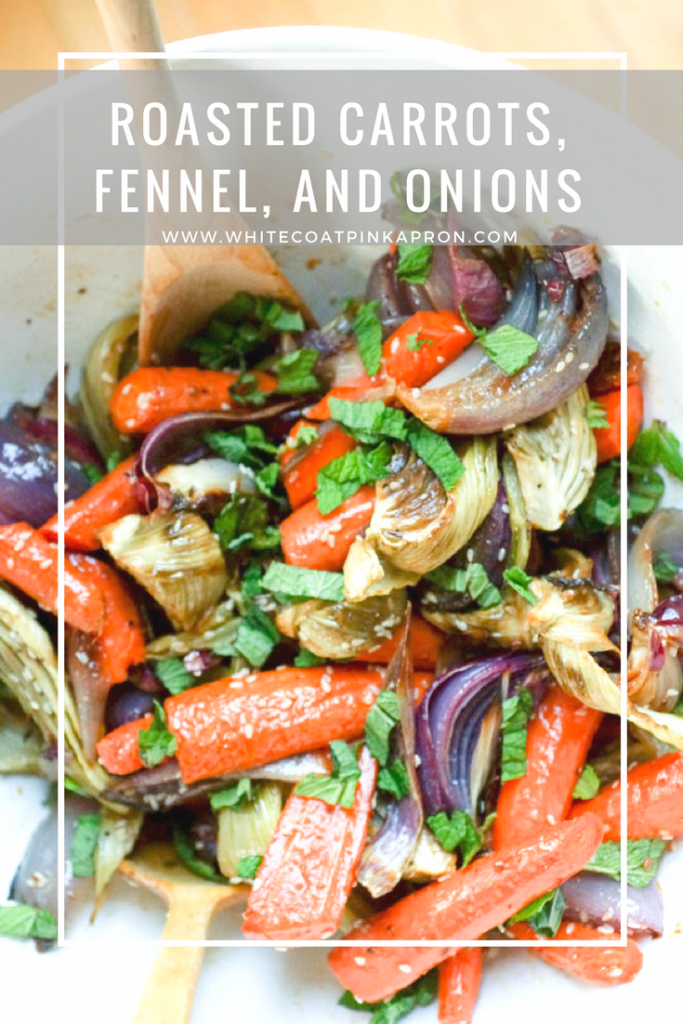 Roasted Carrots, Fennel, and Onions is a delicious and unexpected vegan side dish. Perfect for Thanksgiving and Christmas, or even a weeknight meal.