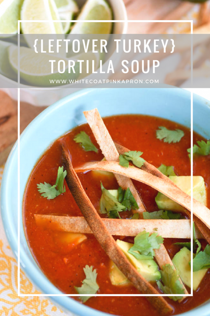 Leftover Turkey Tortilla Soup is the best way to use your Thanksgiving leftover turkey! Smoky, spicy, and so easy to make!