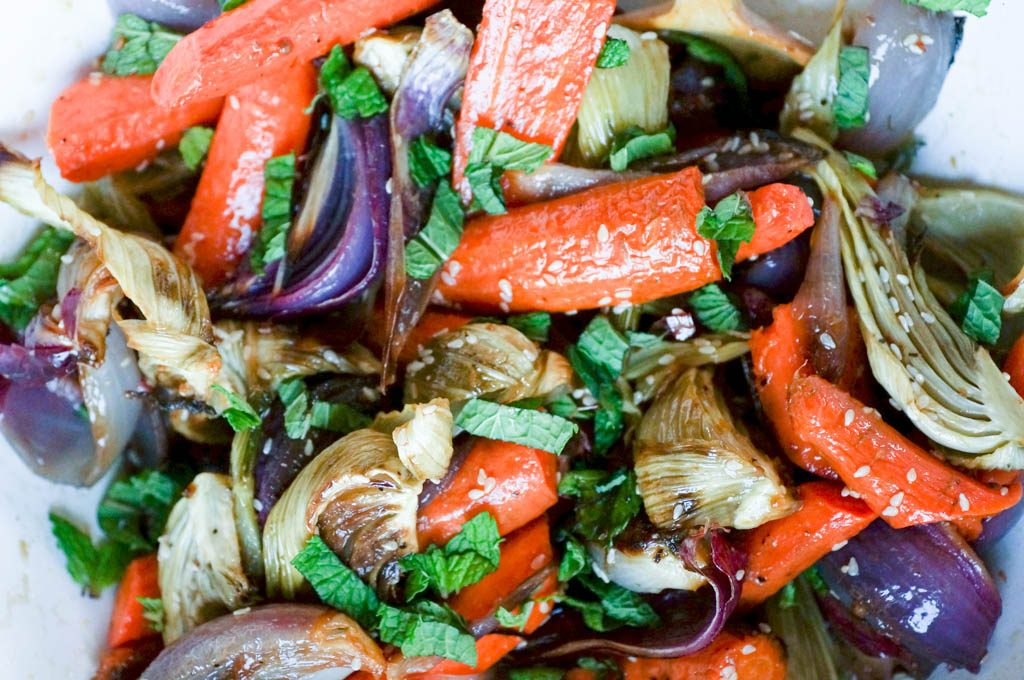 roasted carrots, fennel, and onions, topped with fresh mint.