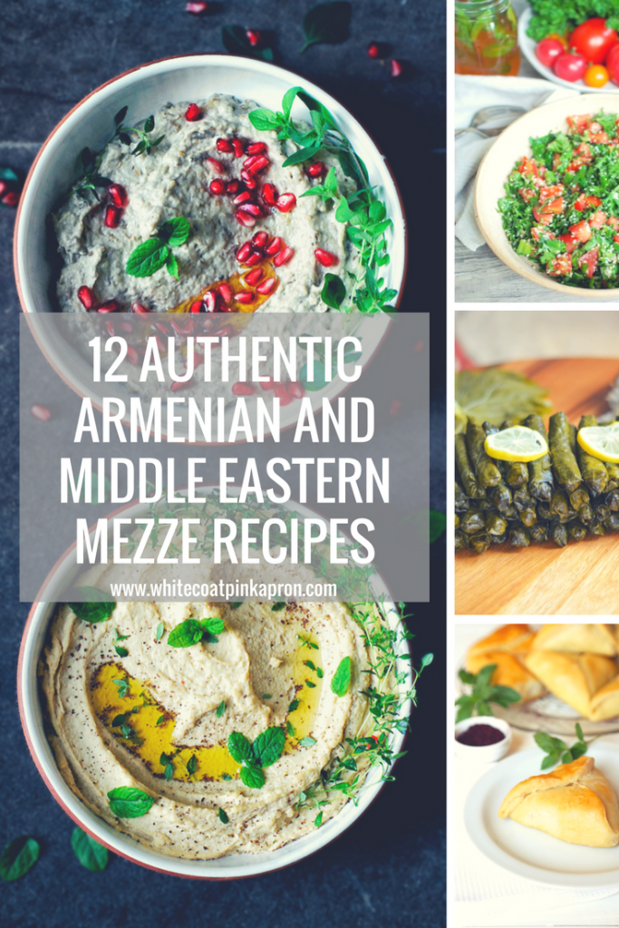 Recipe roundup of the 12 Armenian and Middle Eastern mezze or appetizer recipes you need on your table! Hummus, baba ghanoush, tabbouleh, muhammara, and more! #middleeasternfood #armenianfood #hummus
