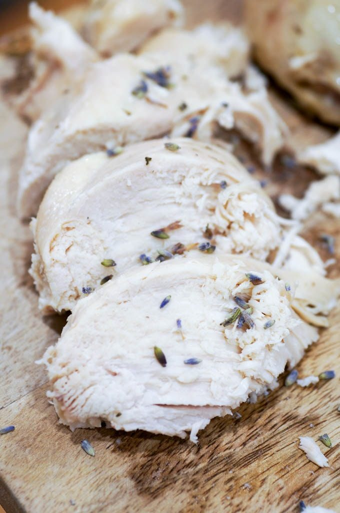 Sliced chicken breast with lavender