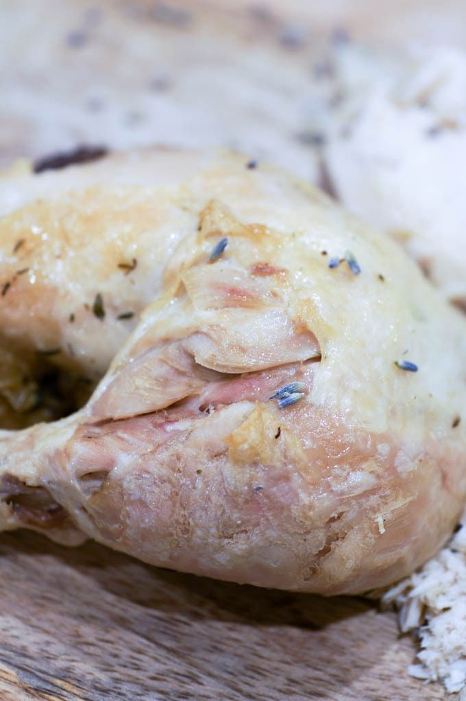 Chicken drumstick with lavender