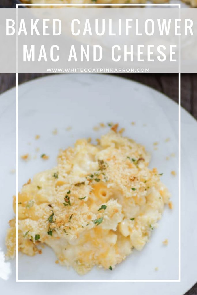 Baked Cauliflower Mac and Cheese is a lightened up version of a family favorite. Cheesy and flavorful, with just enough macaroni, you and your kids won't notice the cauliflower! #cauliflower #macandcheese #kidfriendly #easydinner