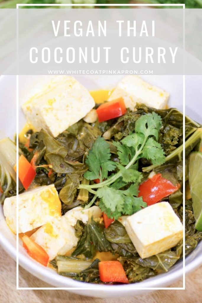 Vegan Thai Coconut Curry is an easy, bold, flavorful one pot meal that's perfect for weeknights! #vegan #plantbased #thaicurry