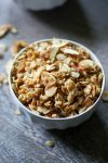Warm, bright, nutty granola that doubles as a hearty breakfast or tasty snack. #granola #breakfast