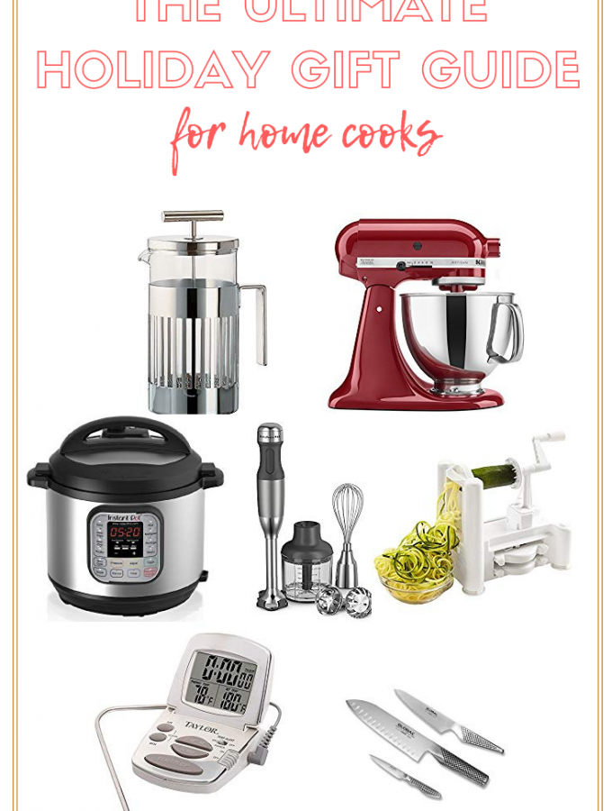 The Ultimate Holiday Gift Guide for Home Cooks has the top kitchen gadgets for the chef in your life! From stocking stuffers to splurges, you'll find them here. #giftguide #kitchentools #christmas #giftguide #blackfriday