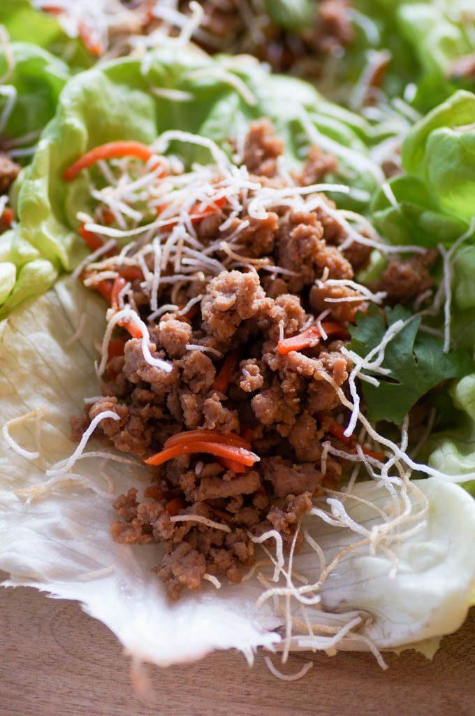 lettuce wrap, ground turkey, shredded carrot