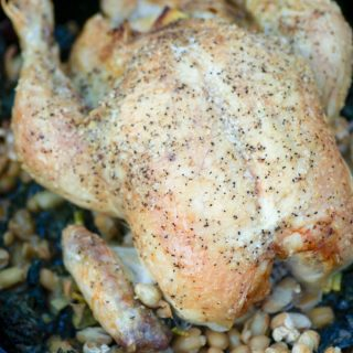 Roasted Chicken with Greens and Beans
