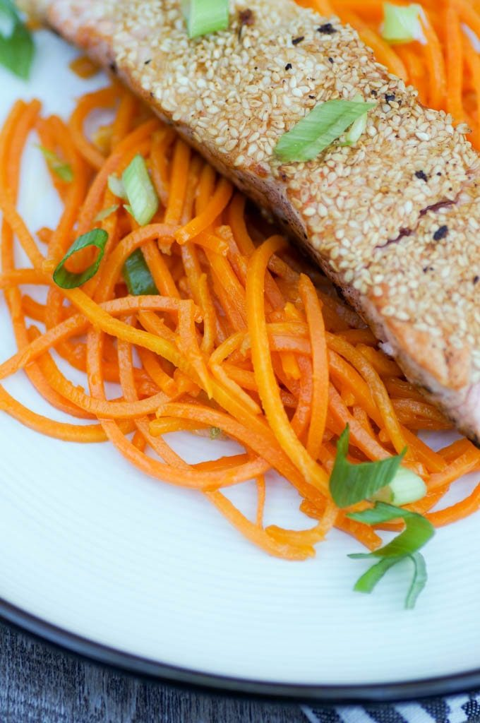 butternut squash noodles with salmon