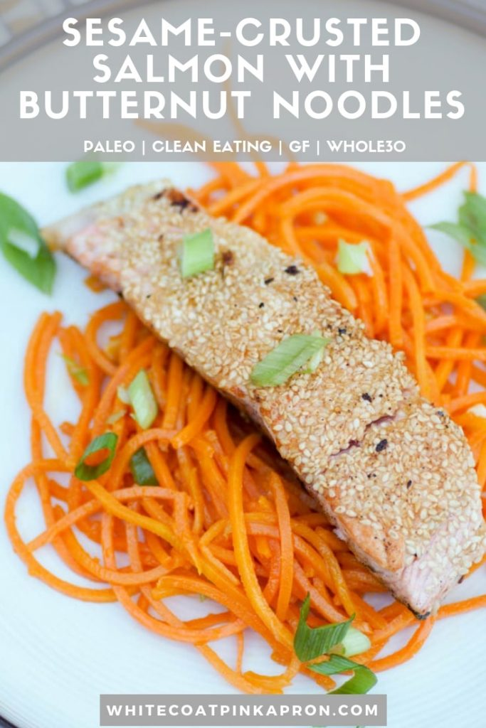 Sesame Crusted Salmon With Butternut Noodles is a light, healthy dish. Bursting with fresh flavor from sesame, garlic, and ginger, it requires only 7 ingredients, 15 minutes, and one pan. Whole30 compliant, paleo, gluten-free, clean eating. #salmon #cleaneating #gf #paleo #whole30