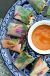 Easy Vegan Summer Rolls are a fun and beautiful way to eat a rainbow of veggies! Perfect at parties or just for weeknights at home, you can customize them with your favorite ingredients.#vegan #summerrolls #springrolls