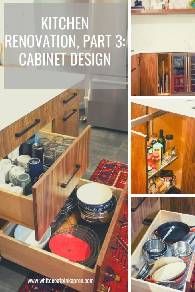 Choosing cabinets is a major part of your kitchen design. From drawers to hidden appliances to special features, there a many options to make your kitchen truly functional. #whitecoatpinkapron #kitchenrenovation