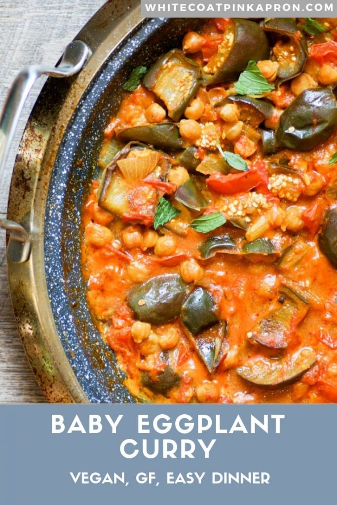 Baby Eggplant Curry is an easy, one pan meal full of spice and flavor. Vegan and gluten-free. #vegancurry #babyeggplant #onepanmeal