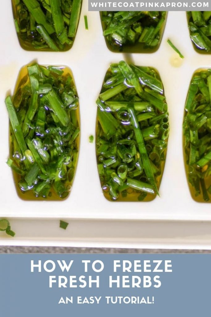 Easy tutorial on how to freeze fresh herbs in ice cube trays to make them last all year! #herbs #frozenherbs #whitecoatpinkapron