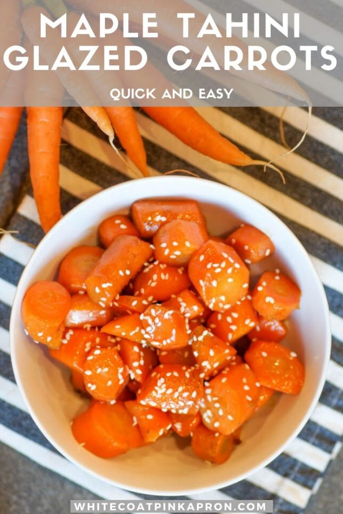 Maple Tahini Glazed Carrots are a sweet and savory side dish that will taste perfect on your Thanksgiving table. Even better, these carrots are prepared entirely on the stovetop, and take only minutes to cook. #whitecoatpinkapron #thanksgivingsides #glazedcarrots