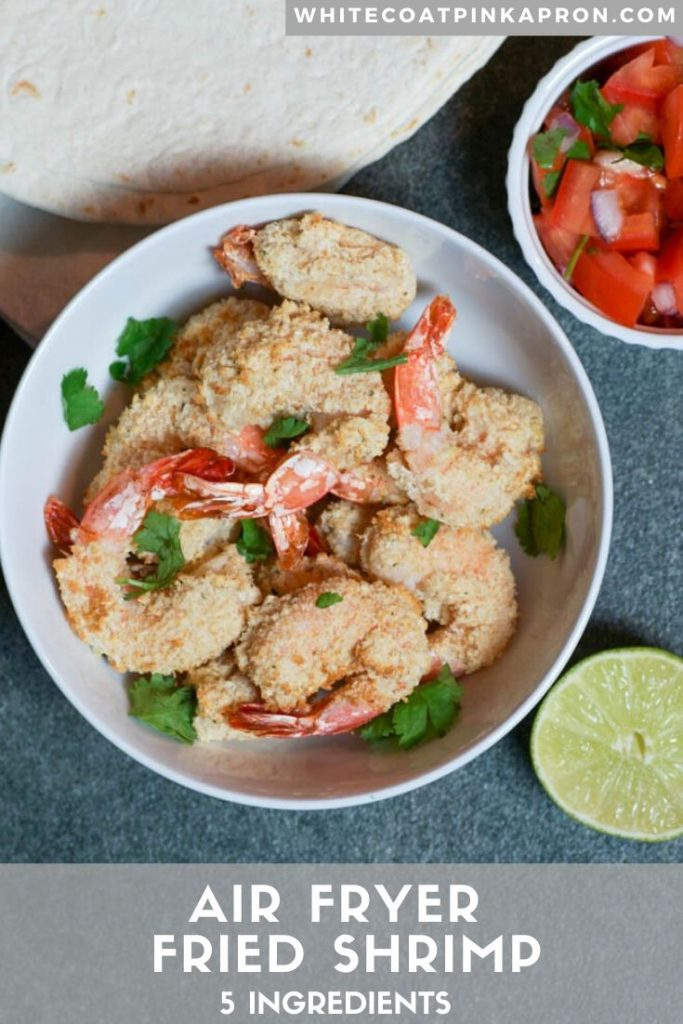 Air Fryer Fried Shrimp is an easy way to make light and crispy shrimp in no time. Freeze half of the batch to have on hand for a quick weeknight meal. #airfryer #airfryershrimp #friedshrimp #whitecoatpinkapron